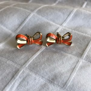 Kate Spade Orange Bow Stud Earrings